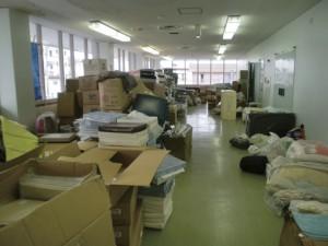 相馬市民会館に届けられた支援物資